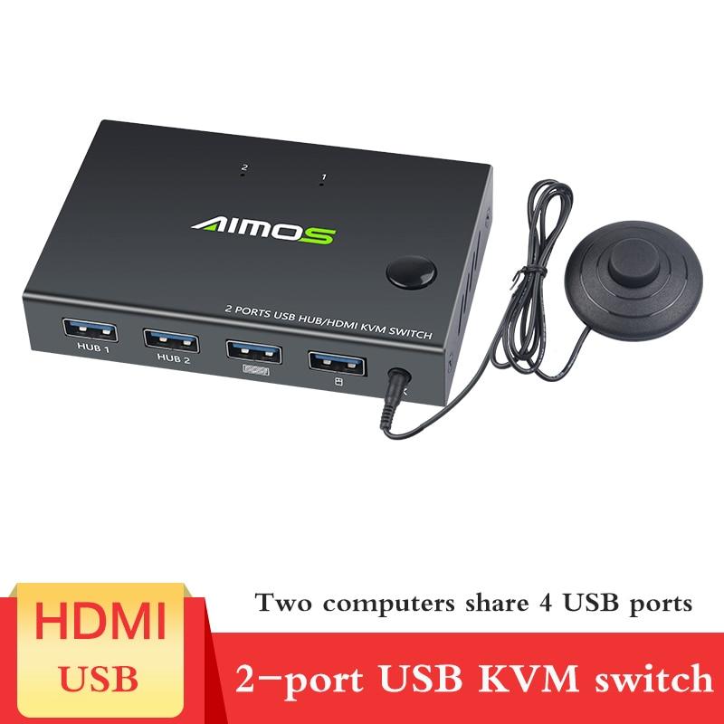 HDMI KVM переключатель 2 порта 4K USB переключатель KVM VGA переключатель разветвитель для совместного использования клавиатуры принтера квм Перекл...
