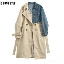 Winter Coat Women Lapel Long Sleeve Khaki Color Trench Coat Denim Stitcing Loose