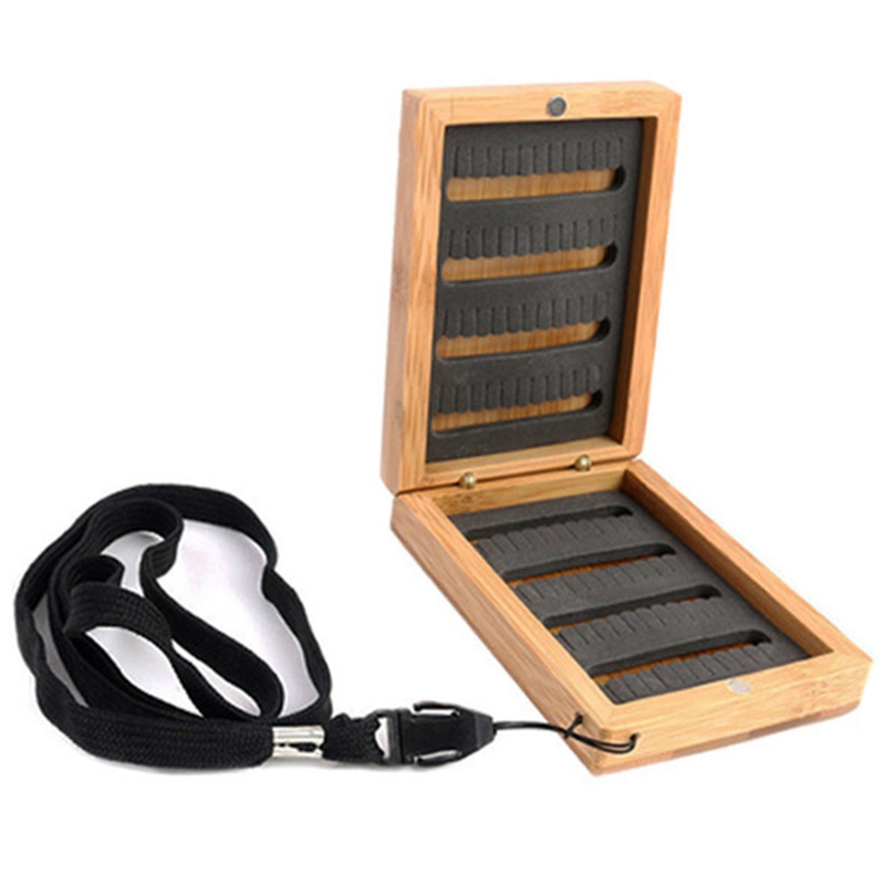 Wooden Bamboo Fly Fishing Box With Slit Foam Insert Super Small Portable Fishing Tackle Box Fishing Accessories|Fishing Tools| |  - title=