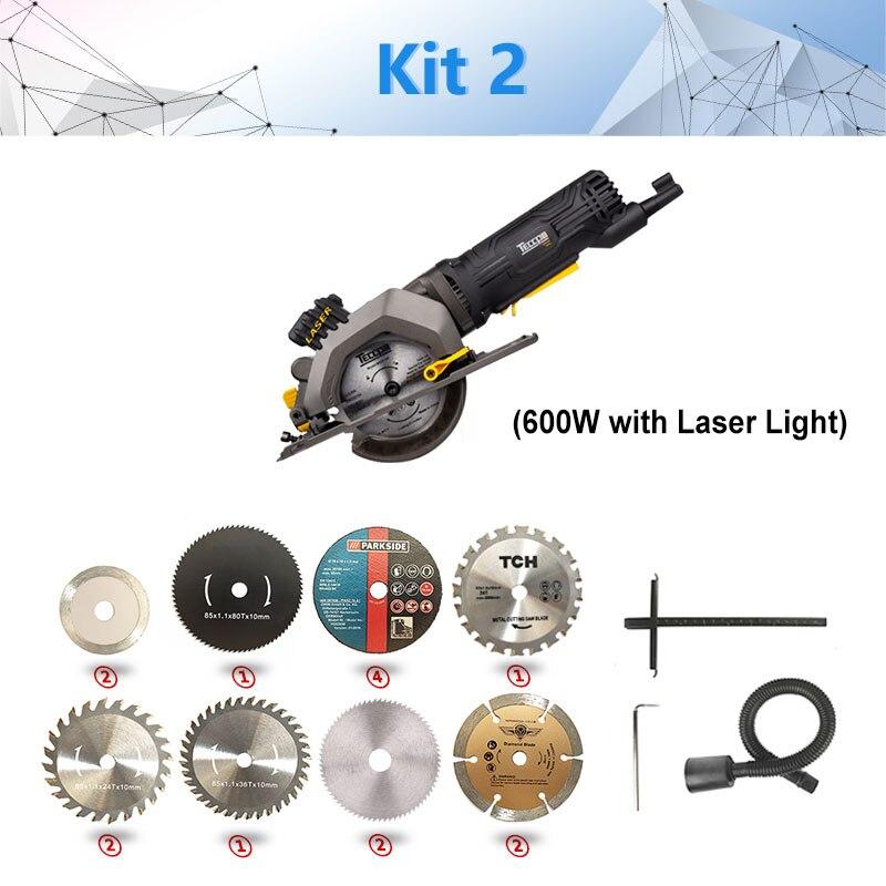 600 Вт Электрический электроинструмент, электрическая мини-циркулярная пила с лазером, DIY многофункциональная электрическая пила для резки дерева, ПВХ трубки, плитки - Цвет: kit2 766P-L