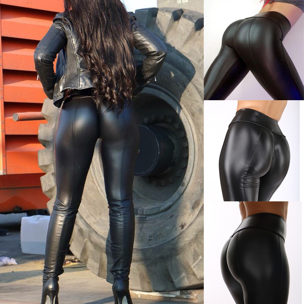 Women Stretch Pants Plus Size Sweatpants Wet Look Butt Lift Pants Leather PV Skinny Leggings Stretch Trousers Ropa Mujer