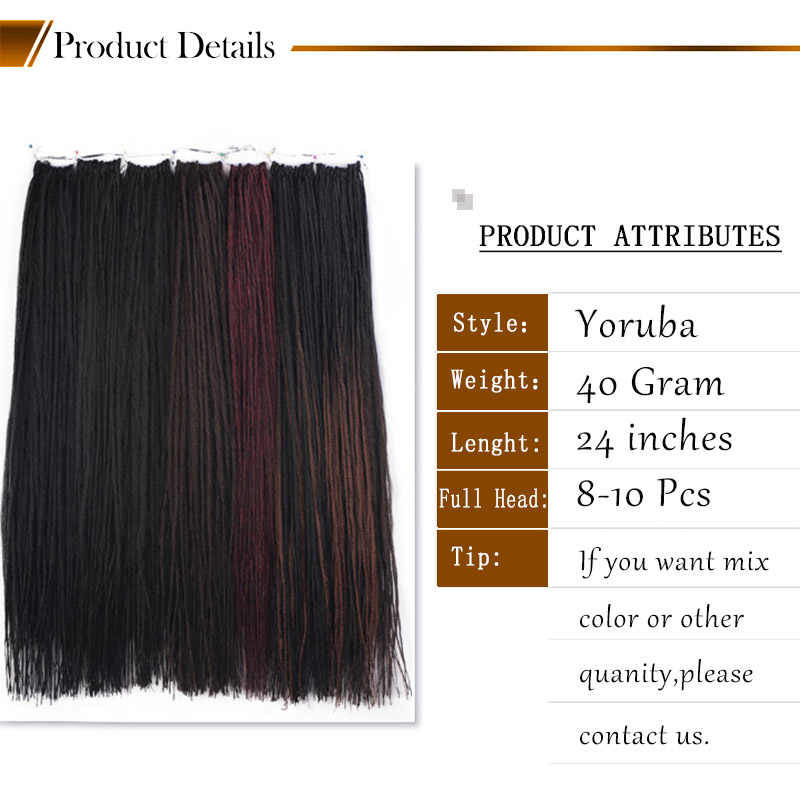 ELEGANTE MUSES Zwart Ombre Bruin Yoruba Loc Rechte Dreadlocs Gehaakte Haar Synthetische Vlechten Zachte Hair Extensions 24inch Vlecht
