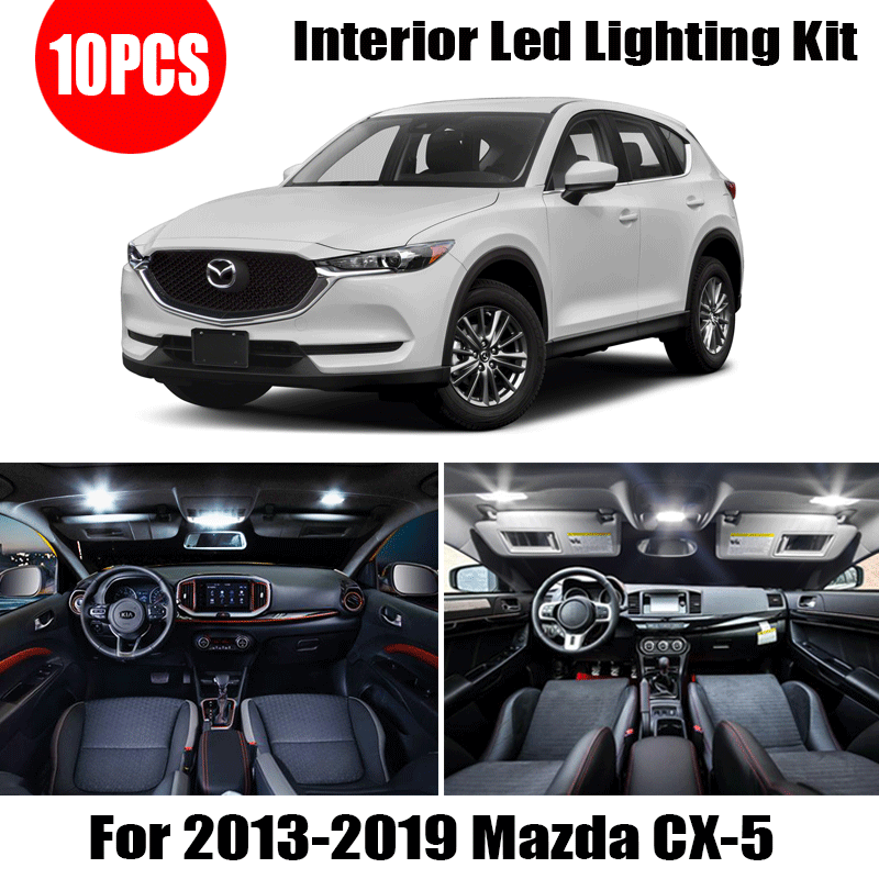 <font><b>For</b></font> <font><b>Mazda</b></font> <font><b>CX</b></font>-<font><b>5</b></font> 2013-2017 2018 <font><b>2019</b></font> CX5 10X White car accessories Canbus Error Free <font><b>LED</b></font> Interior Light Reading Light Kit Map Dome image