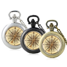 Pocket-Watch Jewelry Antique Compass Chain Clock Necklace Pendant Glass Gifts Quartz