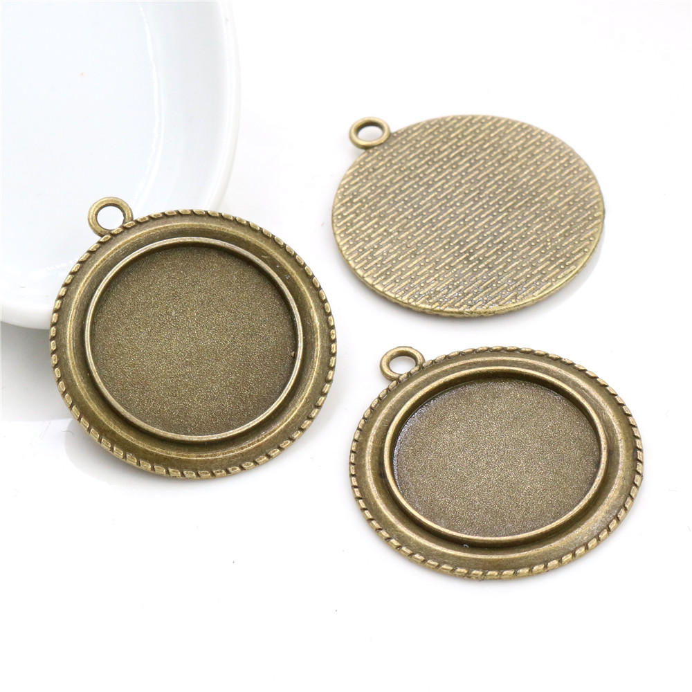 New Fashion 5pcs 25mm Inner Size Antique Bronze Vintage Style Cabochon Base Setting Charms Pendant (A4-48)