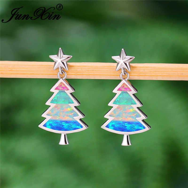 หญิงต้นคริสต์มาสที่ไม่ซ้ำกัน Ear Stud ต่างหูเงิน 925 สี Mystic Rainbow Fire โอปอลน่ารัก Star ต่างหูสำหรับงานแต่งงานเครื่องประดับ