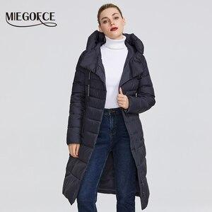 Image 3 - MIEGOFCE 2019 Neue Winter frauen Sammlung von Mantel Knie Länge Winddicht frauen Jacke Mit Stand Up kragen und Kapuze Parka