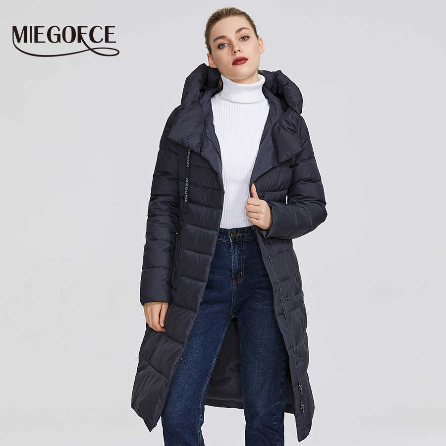 MIEGOFCE 2019 New Winter Women's Collection of Coat Knee-Length Windproof Women's Jacket With Stand-Up Collar and Hood Parka
