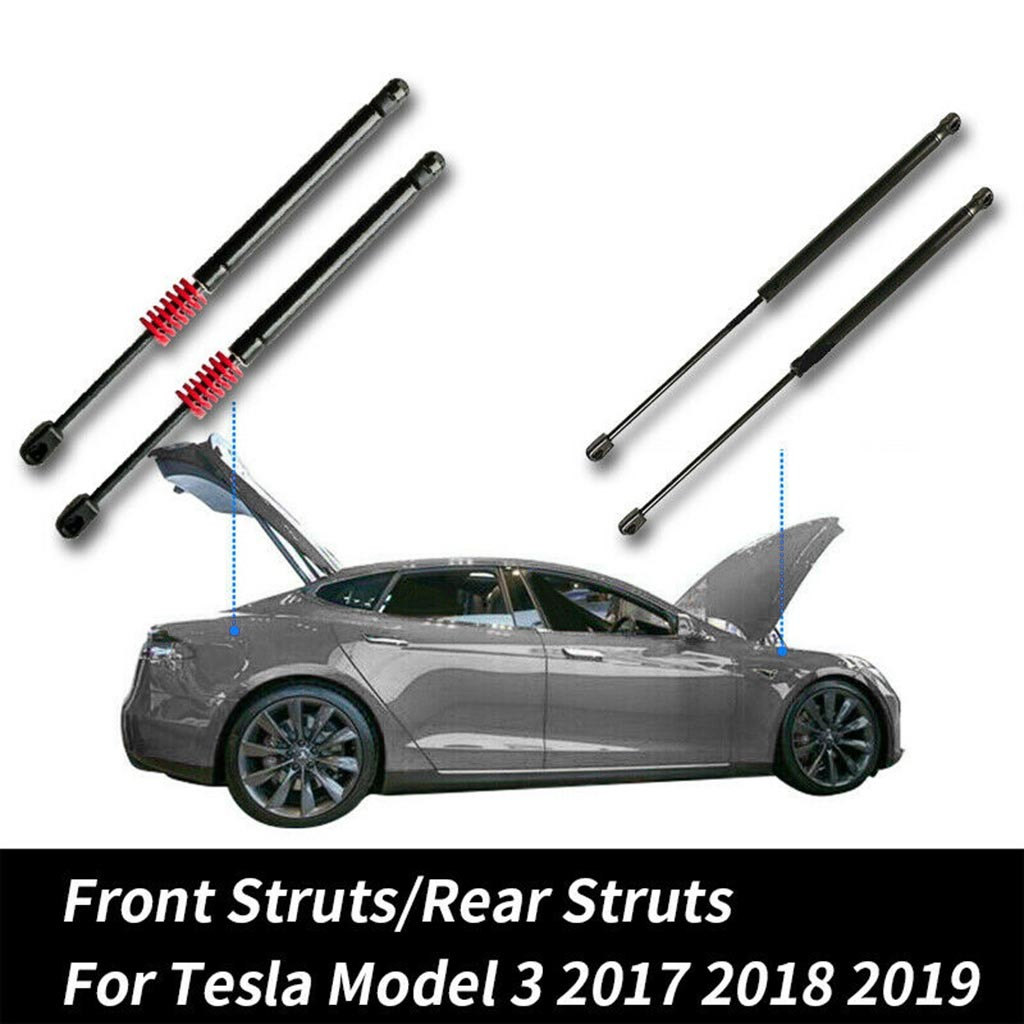 2pcs Hood Bonnet Front   Automatic Rear Trunk Hold Up Support Lifts For Tesla Model 3 Air Spring For More Lifting Power P10
