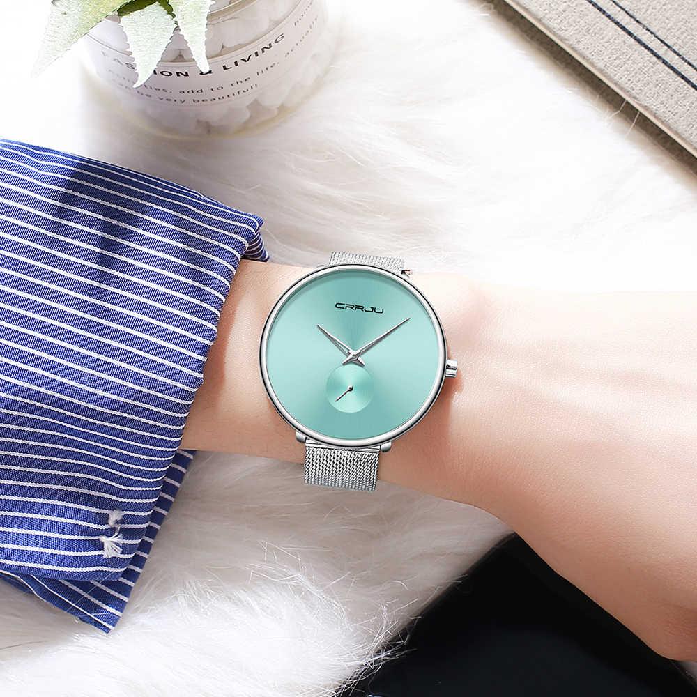 CRRJU 女性の腕時計 2019 高級女性時計ファッションミニマ防水スリムバンド腕時計女性リロイ Mujer