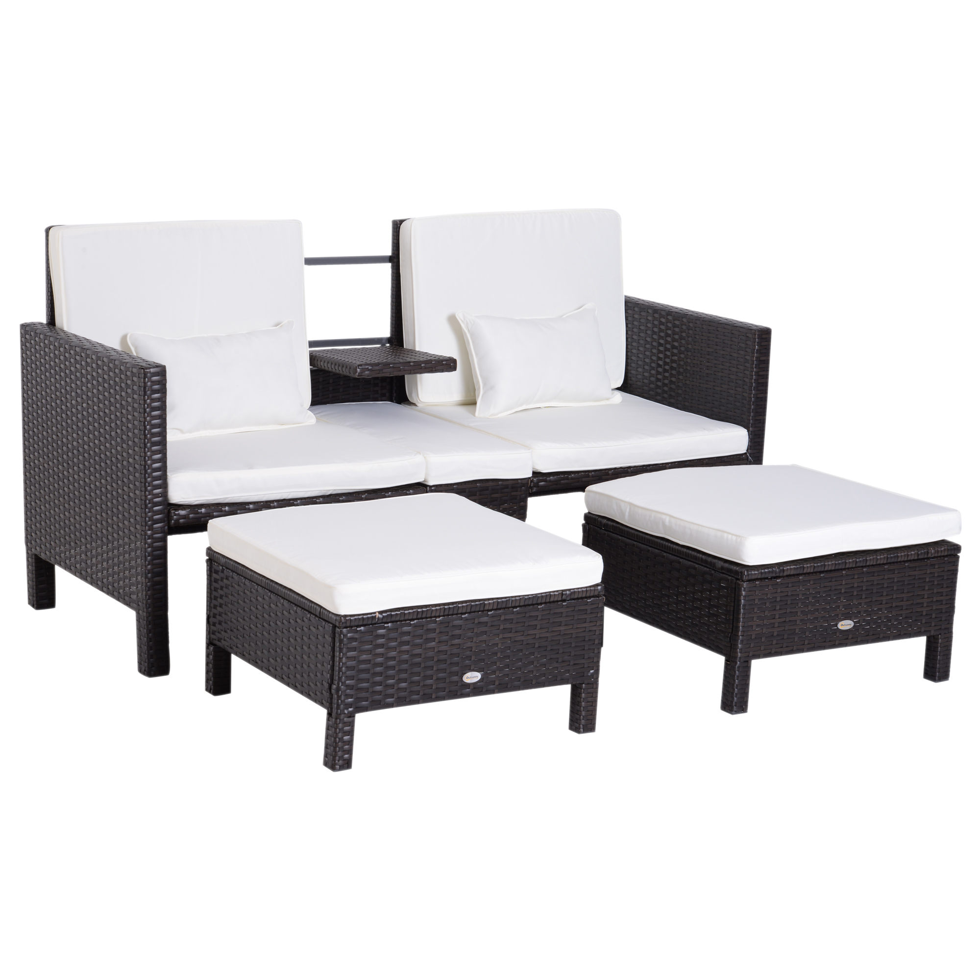 Outsunny Set Garden Furniture Rattan Loveseat And 2 Ottoman With Armrest And Upholstered Cushions Black, Cream