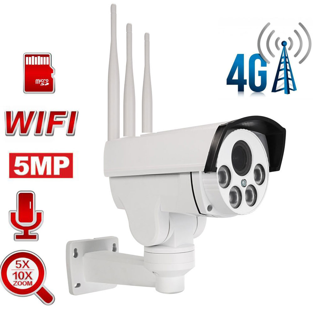 5MP 4G SIM Card WiFi PTZ Camera Outdoor PTZ HD Bullet Camera Wireless IR 50M 5X / 10X Zoom Auto Focus Audio CCTV Security Camera
