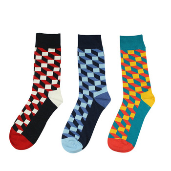 New European and American Pure Cotton Plaid Men s Tide Socks Leisure Breathable Happy Hot Sales Casual Crew