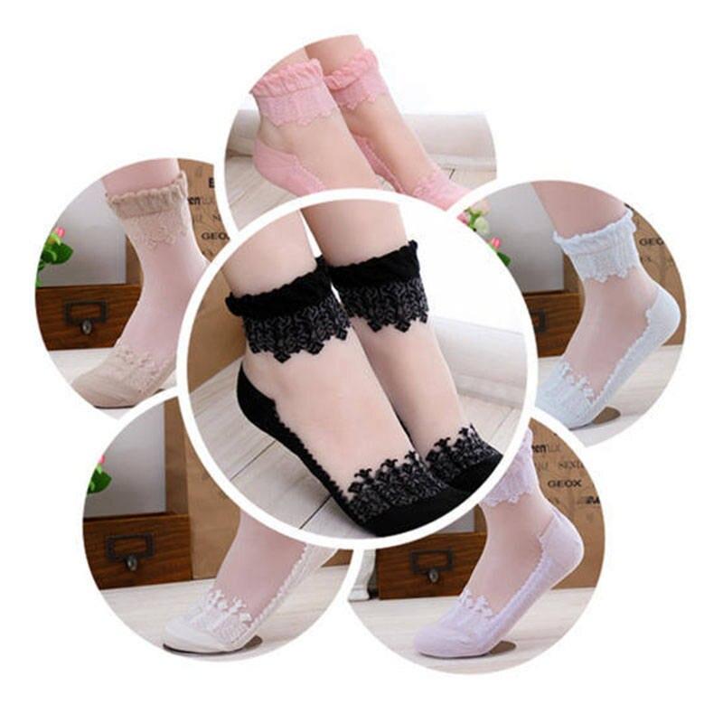 Дышащие летние женские прозрачные ультратонкие кружевные шелковые носки для девочек короткие носки