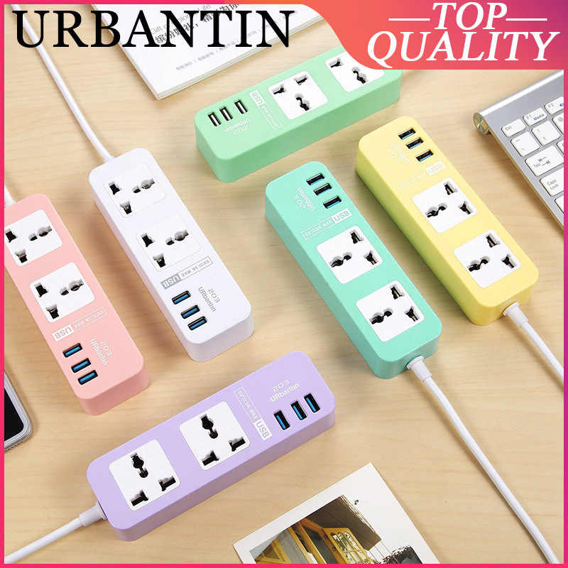 Urbantin 2 Sockets Standaard Plug Interface Uitbreiding Us Plug Smart Home Elektronische Power Strip Socket Snel Opladen 3 Usb Eu uk