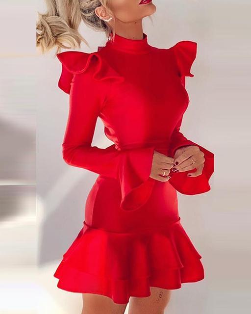 Solid Sexy Backless Ruffle Long Sleeve Dress Women Mock Neck Slim Mini Dress 2