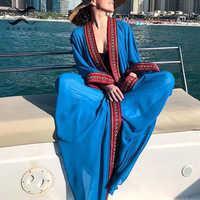 Vintage embroidery cover ups Summer beach wear swimsuit female kimono long sleeve dress women 2020 Gossamer long beach dress new