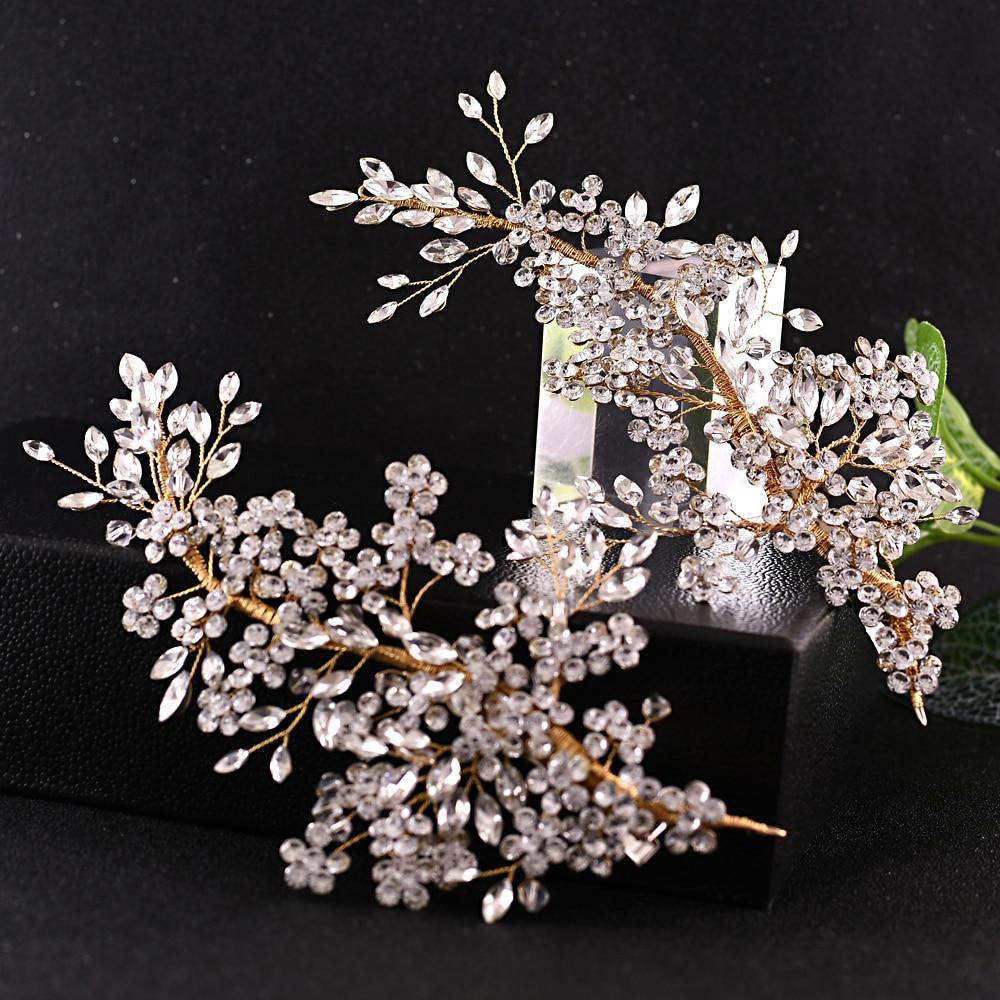 TRiXY H253-G Golden Crystal Bridal Headpiece Flower Wedding Hair Accessories Party Prom Hair Jewelry Bridal Hair Accessories