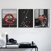 Laeacco Canvas Calligraphy Painting Lifebuoy Billiard Motorcycle Wall Artwork Posters Prints Home Living Room Bedroom Decoration
