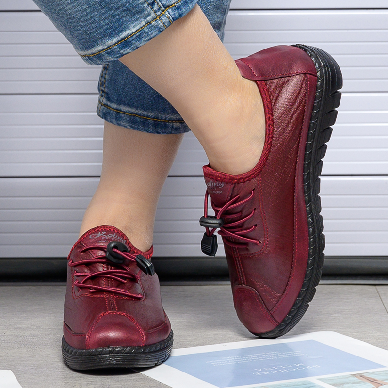 BaiRuiLun Women  Flat Shoes Woman PU Leather Lace Up Mom Shoes Female Casual  Soft Ladies Women's Shoes