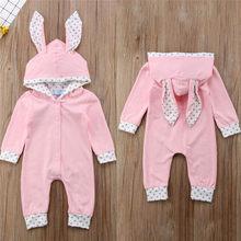 Cute Baby Girls Romper Cartoon Rabbit Ear Hooded Newborn Kids Clothes Outfit