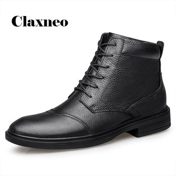CLAXNEO Man Dress Shoes Genuine Leather Male Boots Winter Boot Plush Fur Warm Snow Shoe clax Men's Formal Footwear