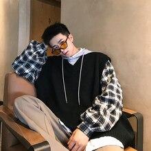 Новинка, Повседневный пуловер в Корейском стиле, в стиле хип-хоп, с капюшоном, имитация двух частей, в клетку, с вышивкой, фиолетовый/хаки/черный, M-2XL