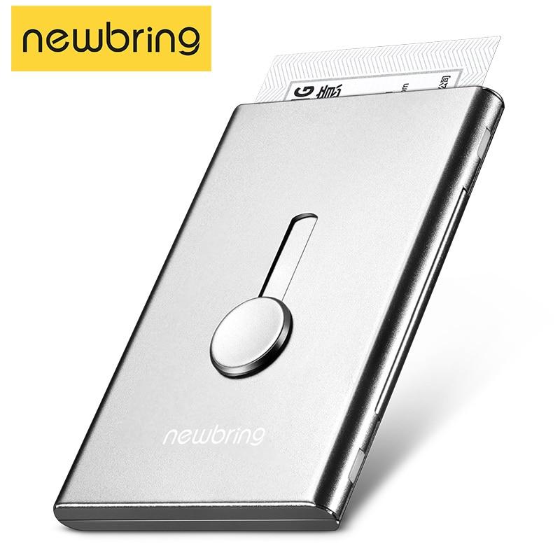 Metal Card Holder Wallet For Men Business Card Case Automatical Aluminium Credit Card Organizer Wallet Minimalism Cardholder