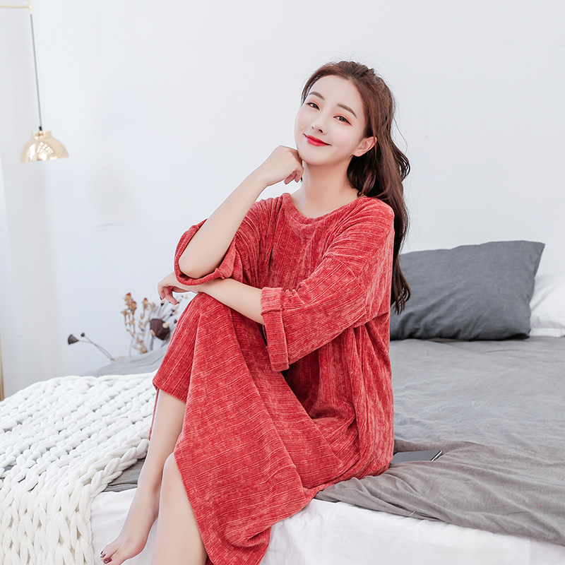 2019 Autumn And Winter New Style Laziness Wind Mao Knit Long Sweater Dress Women's Fat Mm Cover Belly Slimming Dress Fashion