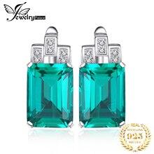 8.33ct Luxury Nano Russian Emerald Clip Earrings Fashion Women Gift 925 Solid Sterling Silver Jewelry 2015 Brand New