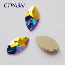 C2103TH Sewing Crystal AB Rhinestones Appliques Flatback Glass Crystals Strass Stones Sew On Round Scrapbook Beads For DIY Dress