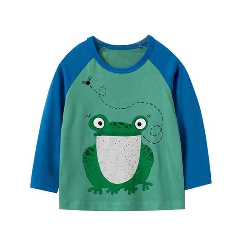 T-shirt manches longues pour bébé, garçons et filles, mignon, en coton, pour le saut de mètre, imprimé grenouille, automne, printemps 2020