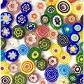 28 г Смешанные Цветочные мозаичные стеклянные плитки художественные Круглые бусины для самостоятельного изготовления ювелирных изделий ру...