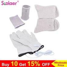 新しい導電性銀繊維tens/ems電極治療手袋 + 靴下 + レーサー + ケーブル電気療法phycical用治療