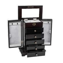 【US Warehouse】Wooden Jewelry Box Organizer Wood Cabinet 6 Layers Case with 5 Drawers- Brown  Drop Shipping USA goplus jewelry armoire cabinet box storage chest stand necklaces organizer wood nightstand with 5 drawers and top mirror hb82378