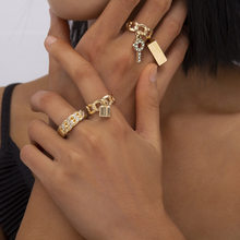 4pcs/set Boho Crystal Lock Square Design Midi Knuckle Ring Set Gold Ring for Women Fashion Jewelry Wholesale Bulk
