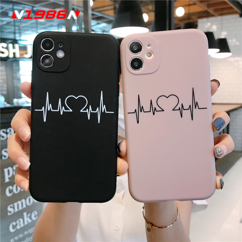 N1986N Phone Case For iPhone 11 Pro X XR XS Max 6 6s 7 8 Plus SE 2020 Fashion Heartbeat Electrocardiogram Soft TPU For iPhone 11