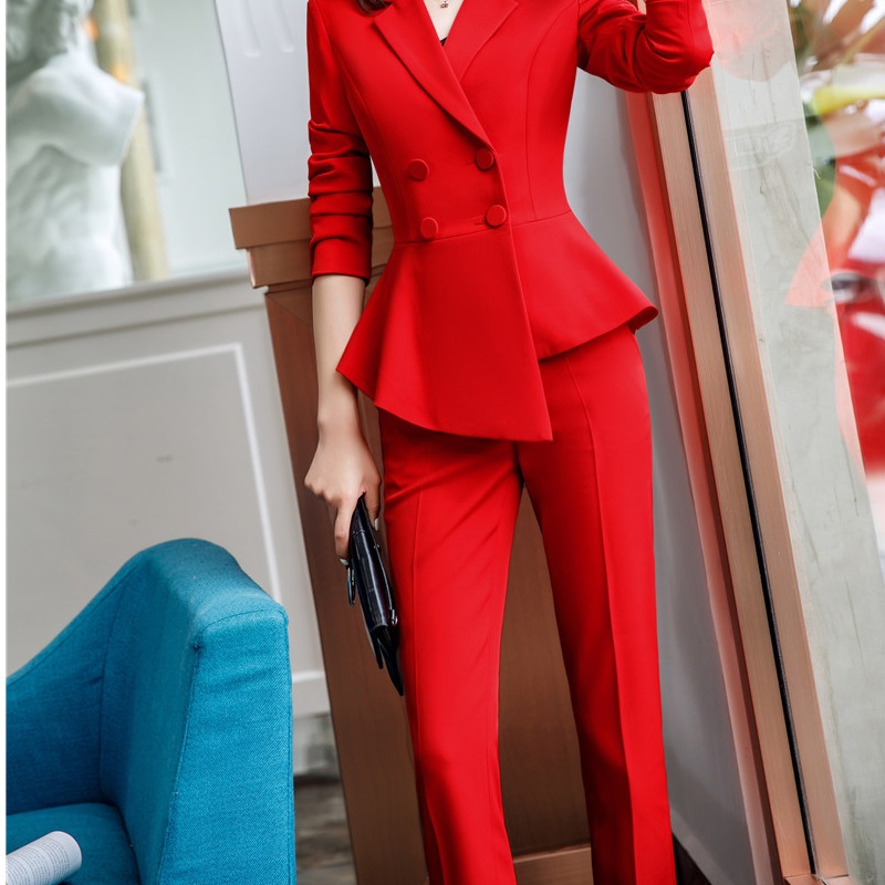 Novelty Red Formal OL Styles Women Business Work Wear Slim Hips Pants Trendy Skinny Leggings Female Trousers Capris Plus Size