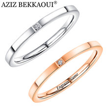AZIZ BEKKAOUI Simple Style Rose Gold Engrave Name Rings with Crystal Stainless Steel Ring for Women Wedding Jewelry Gift(China)