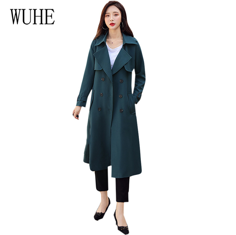 WUHE Autumn New Women's Casual   Trench   Coat Oversize Double Breasted Vintage England OL Windbreaker Outwear Loose Clothing   Trench
