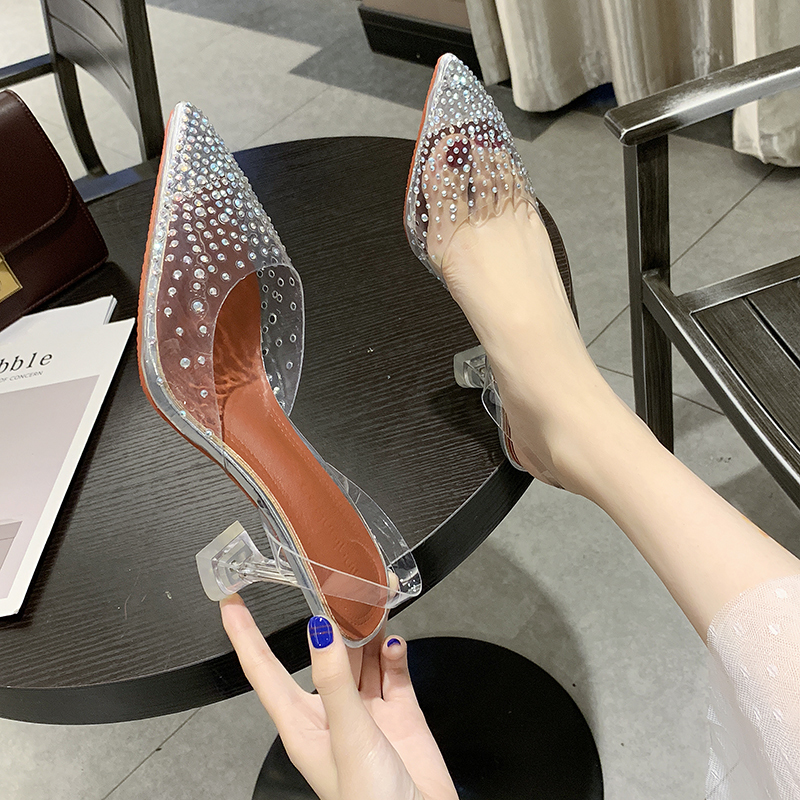 Transparent Crystal Wedding Party Shoes For Women High Heels Sandals Thin Heels Slingback Pumps Women Shoes Autumn Womne Shoes