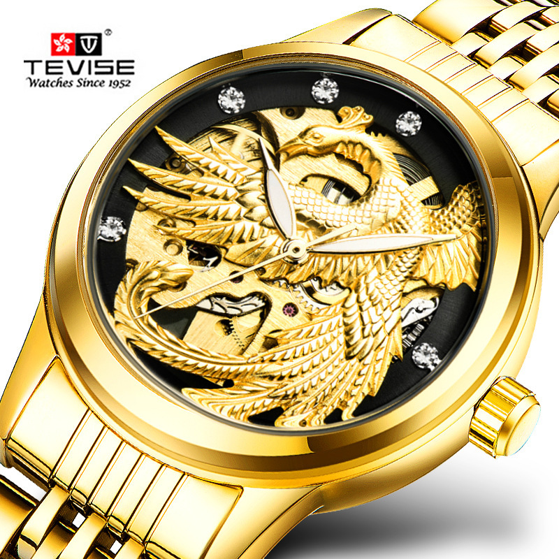 TEVISE Women Skeleton Phoenix Automatic Mechanical Watches Ladies Wristwatches Waterproof Watch Relogio Automatico Montre Femme