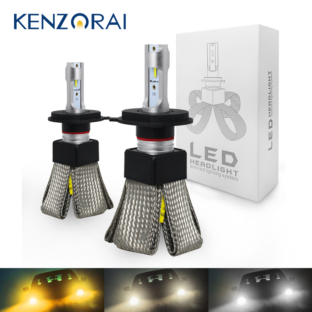 <font><b>3000K</b></font> 4300K 6000K Car headlight <font><b>bulb</b></font> led light H7 H4 H1 H8 H9 H11 9005 HB3 9006 <font><b>HB4</b></font> 12 LED Chips 60W 12V 9600LM Auto Led Lights image