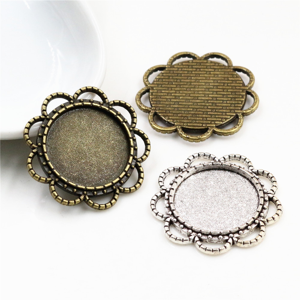 10pcs 18mm Inner Size Antique Bronze And Silver Plated Flower Style Cabochon Base Cameo Setting Charms Pendant