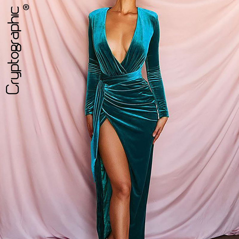 Cryptographic Elegant Women Velet Dresses Deep V Collar Long Sleeve High Slit Long Dresses Fashion Winter Party Dress Sexy Mujer