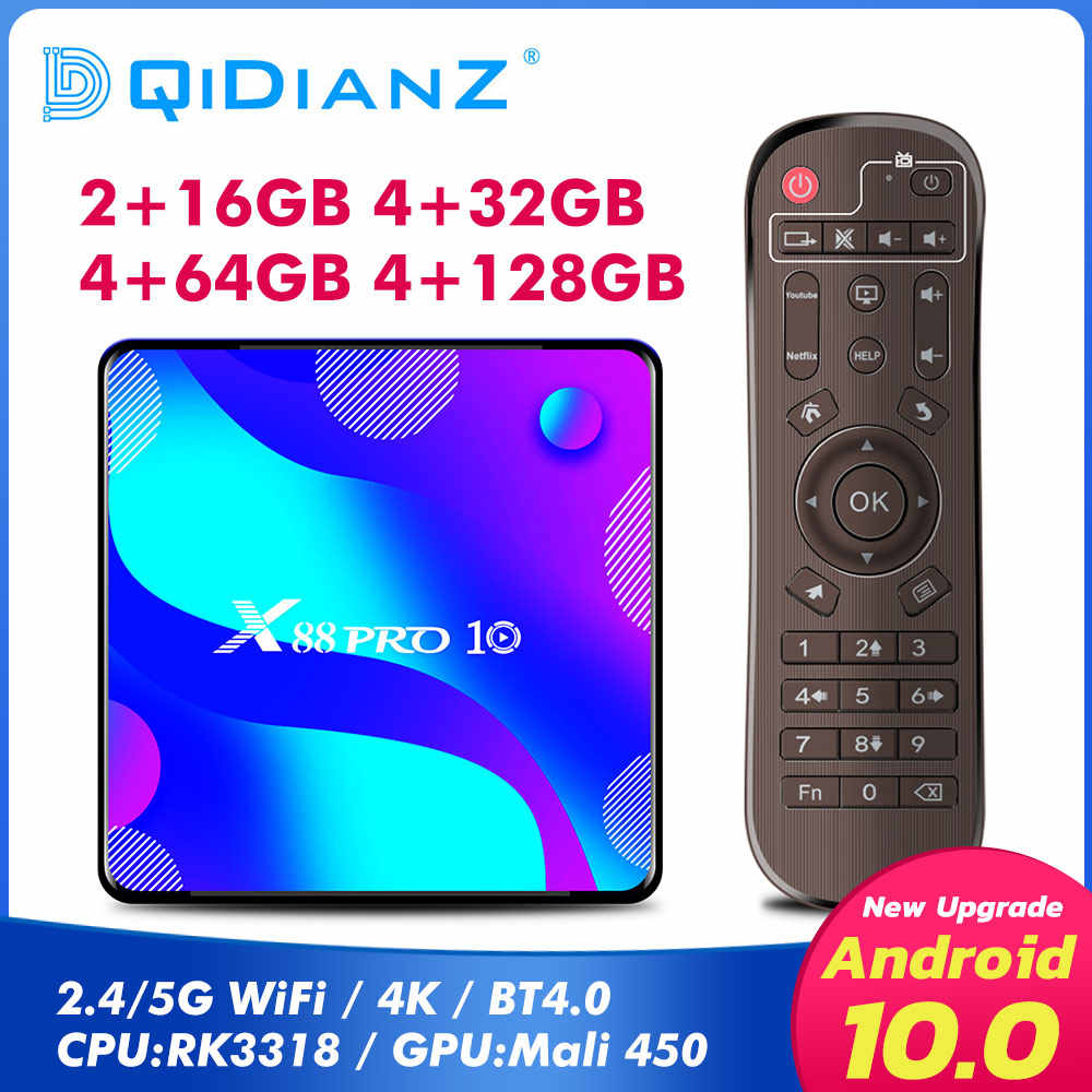 X88 PRO 10 Android 10 กล่องสมาร์ททีวีRK3318 Quad Core Android TVสมาร์ททีวีกล่องAndroid Media Player PK X96 MINI T95