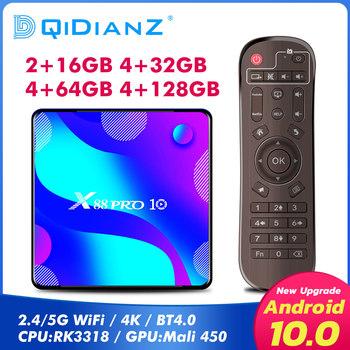 X88 PRO 10 z systemem Android 10 Smart TV BOX RK3318 czterordzeniowy android tv smart tv box z systemem android zestaw odtwarzacza multimedialnego Top Box PK x96 mini t95 tanie i dobre opinie DQiDianZ 100 M CN (pochodzenie) RK3318 quad core 16 GB eMMC Brak 2G DDR3 X88PRO10 DC 5 V 2 5A Karty TF Do 32 GB Quad-core Mali-450