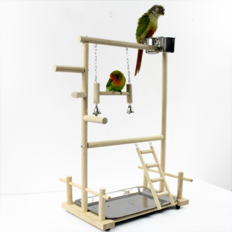 Parrot Playstands With Cup Toys Tray Bird Swing Climbing Hanging Ladder Bridge Wood Cockatiel Playground Bird Perches 53*23*36cm