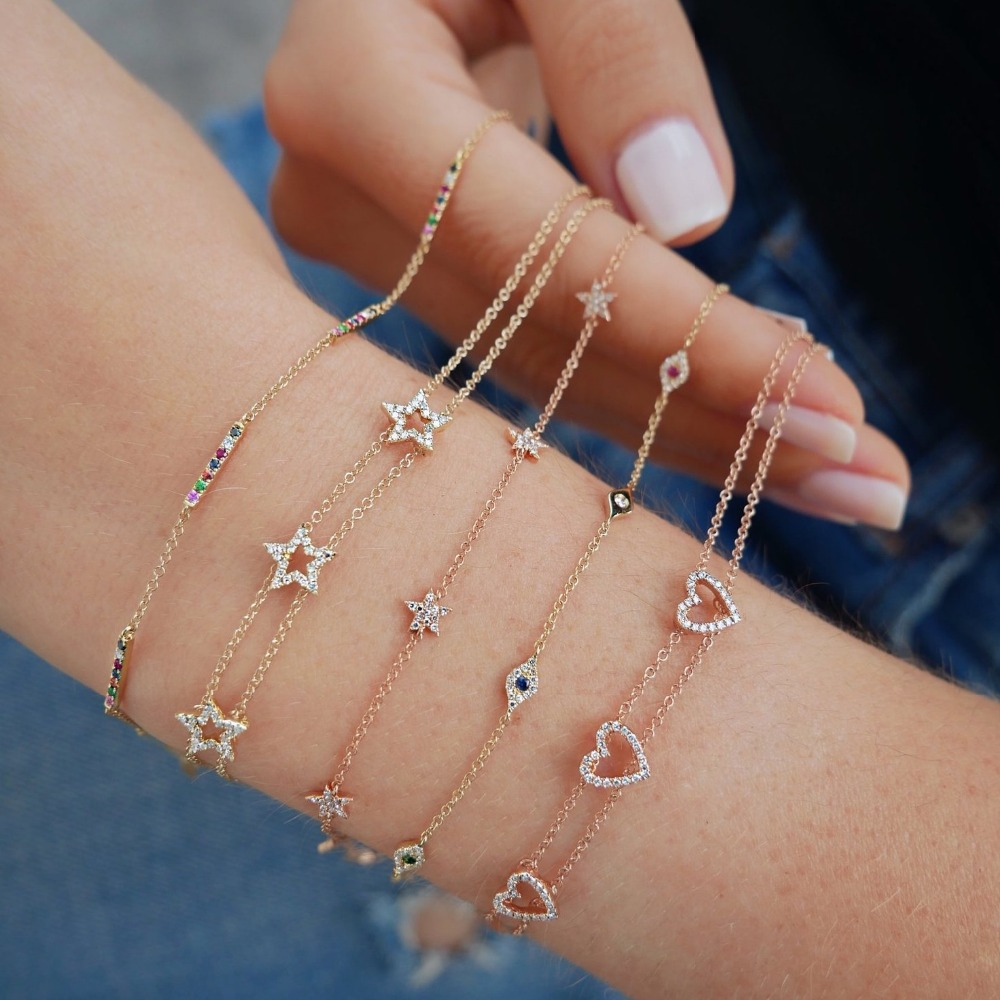 Three Piece Cz Star Charm Charming Bracelet 925 Sterling Silver Delicate Trendy Star Link Chain Cute Bracelets