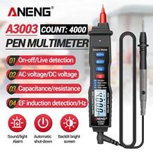 ANENG A3003 multimetro digitale tipo di penna misuratore 4000 conta con strumento di Tester Hz capacità resistenza tensione AC/DC senza contatto